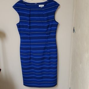 Calvin Klein blue striped fitted dress 8